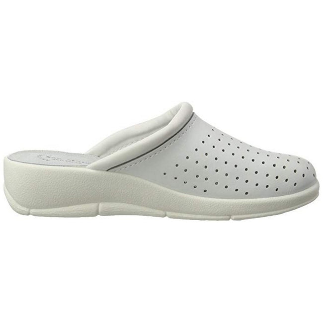 White - Back - Dek Womens-Ladies Coated Leather Clogs