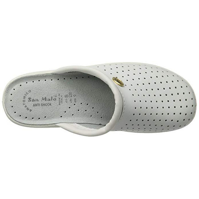 White - Side - Dek Womens-Ladies Coated Leather Clogs