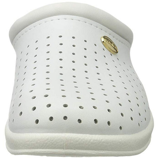 White - Close up - Dek Womens-Ladies Coated Leather Clogs