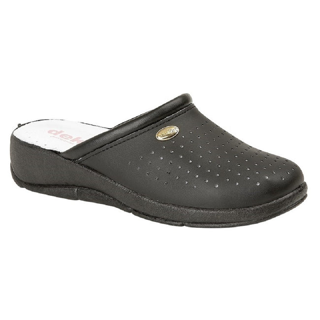 Black - Front - Dek Womens-Ladies Coated Leather Clogs