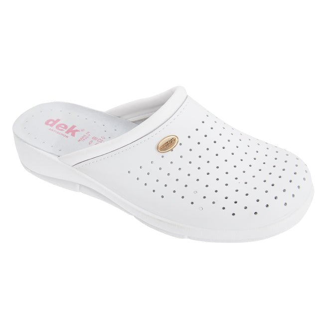 White - Front - Dek Womens-Ladies Coated Leather Clogs