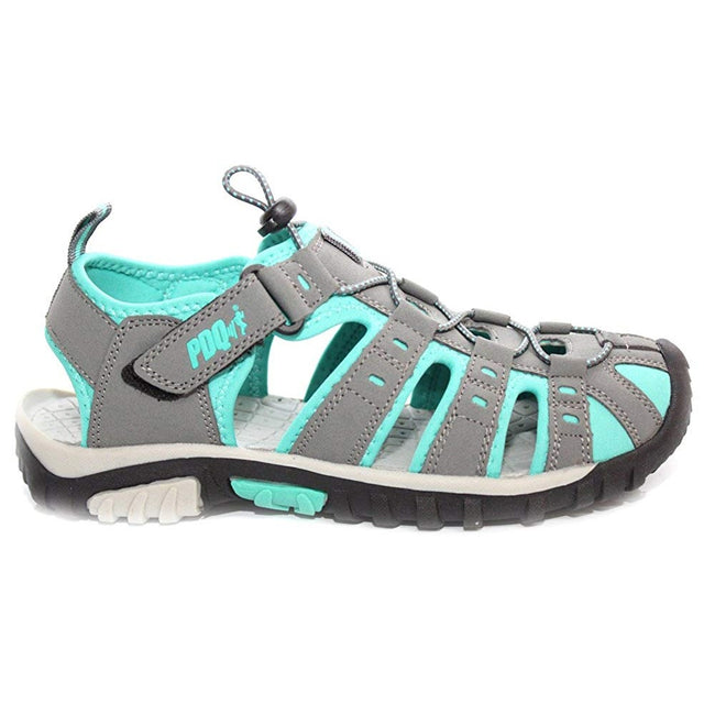 Grey-Jade - Front - PDQ Womens-Ladies Toggle & Touch Fastening Sports Sandals