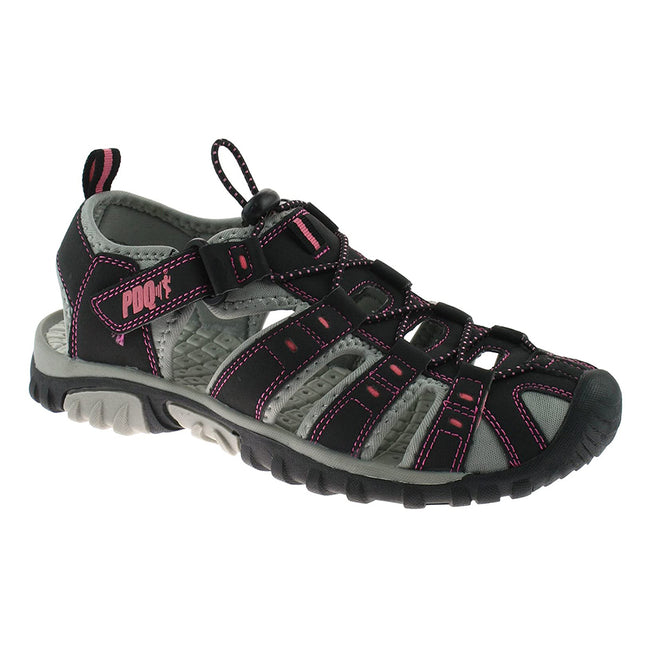 Grey-Jade - Back - PDQ Womens-Ladies Toggle & Touch Fastening Sports Sandals