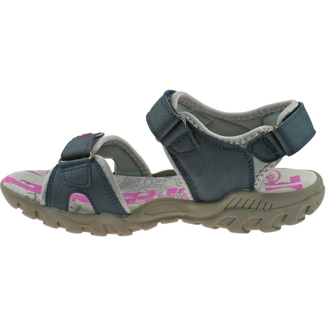 Grey - Front - PDQ Womens-Ladies Toggle & Touch Fastening Sports Sandals
