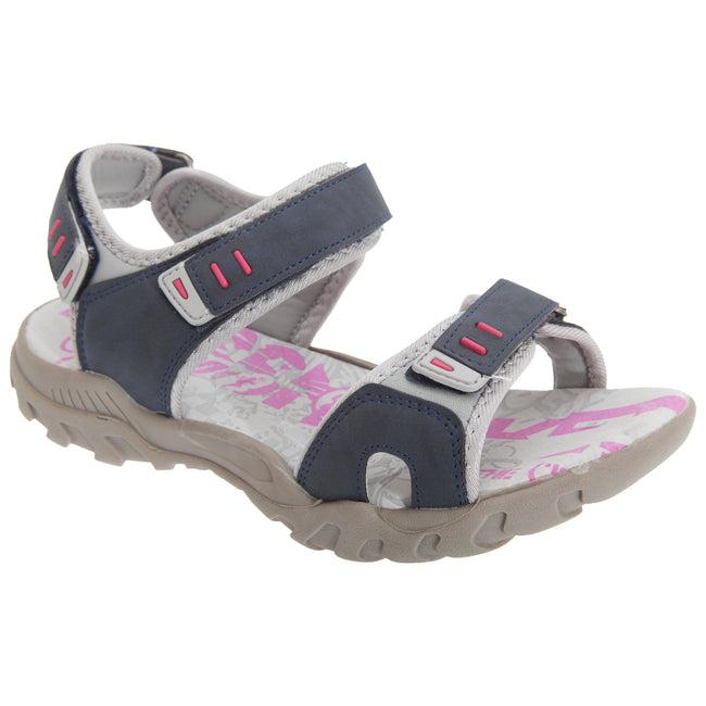 Navy-Grey - Front - PDQ Womens-Ladies Toggle & Touch Fastening Sports Sandals