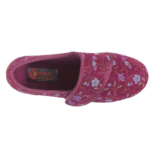 Wine - Back - Comfylux Womens-Ladies Sally Floral Side Seam Superwide Slippers