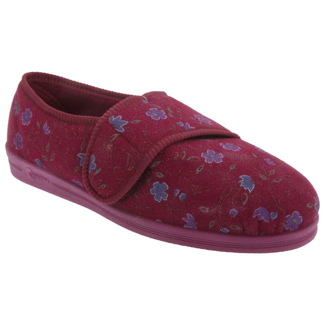Wine - Front - Comfylux Womens-Ladies Sally Floral Side Seam Superwide Slippers