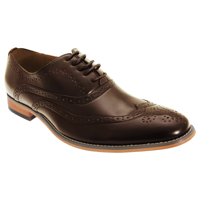 Brown - Front - Goor Mens 5 Eyelet Brogue Oxford Shoes