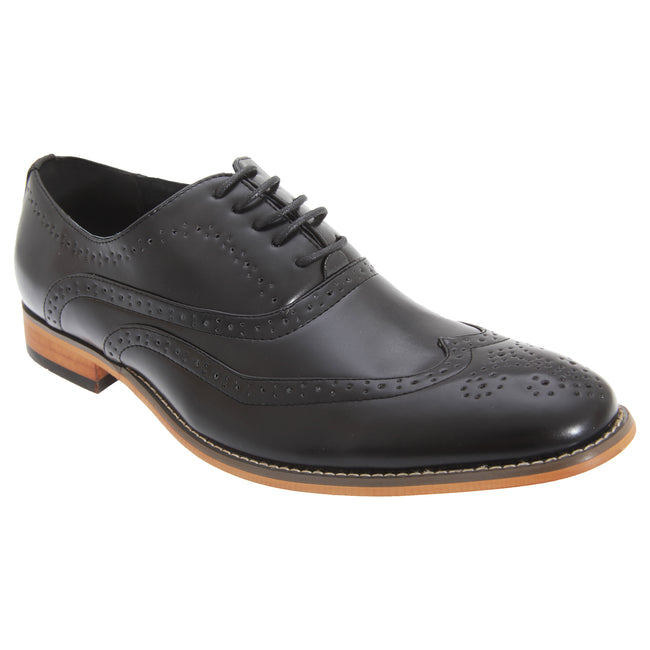 Black - Front - Goor Mens 5 Eyelet Brogue Oxford Shoes