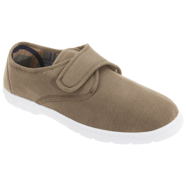 Taupe - Front - Scimitar Mens Touch Fastening Casual Textile Shoes