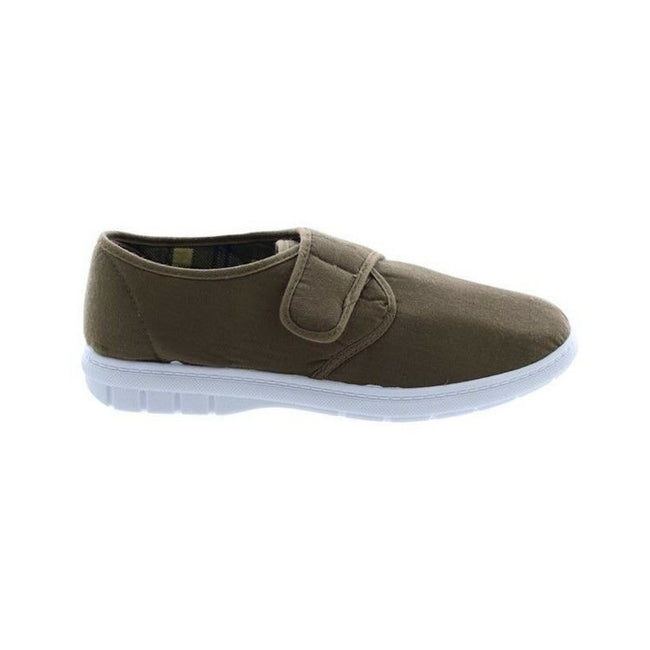Taupe - Back - Scimitar Mens Touch Fastening Casual Textile Shoes