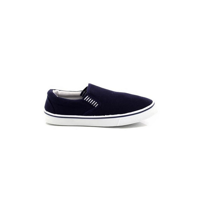 Navy Blue - Back - Dek Mens Gusset Casual Canvas Yachting Shoes