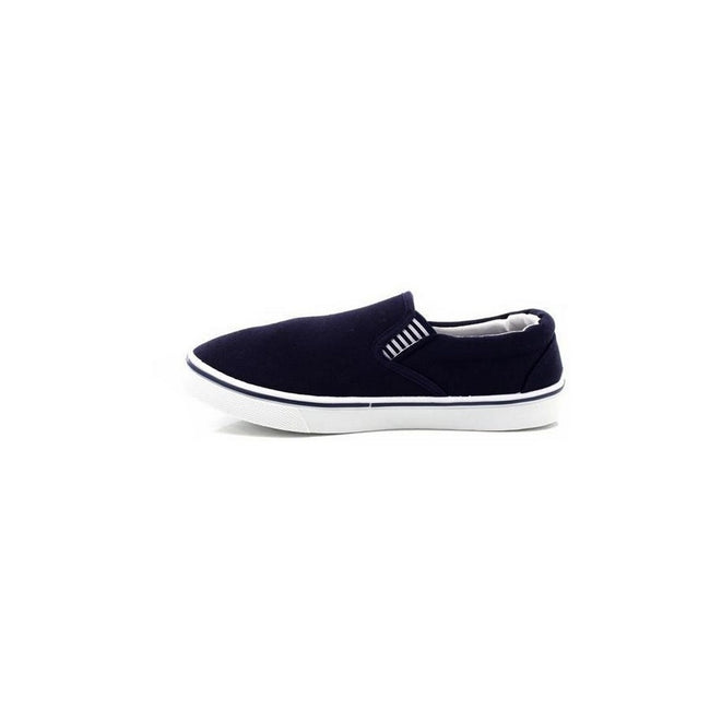Navy Blue - Side - Dek Mens Gusset Casual Canvas Yachting Shoes