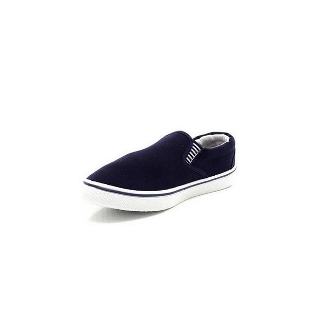 Navy Blue - Lifestyle - Dek Mens Gusset Casual Canvas Yachting Shoes