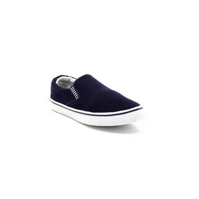 Navy Blue - Pack Shot - Dek Mens Gusset Casual Canvas Yachting Shoes