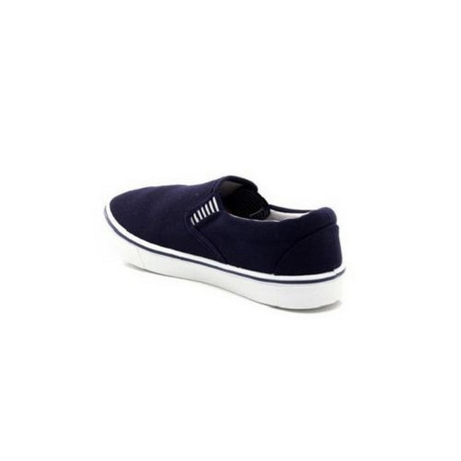 Navy Blue - Close up - Dek Mens Gusset Casual Canvas Yachting Shoes