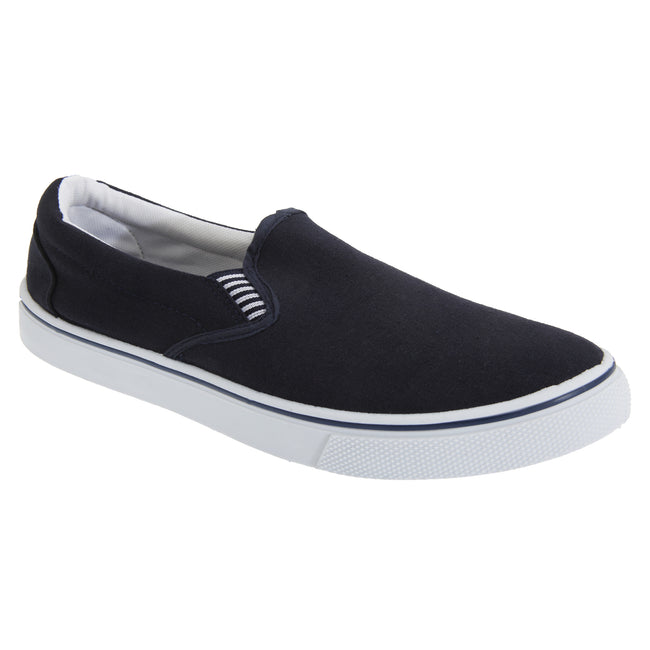 Navy Blue - Front - Dek Mens Gusset Casual Canvas Yachting Shoes