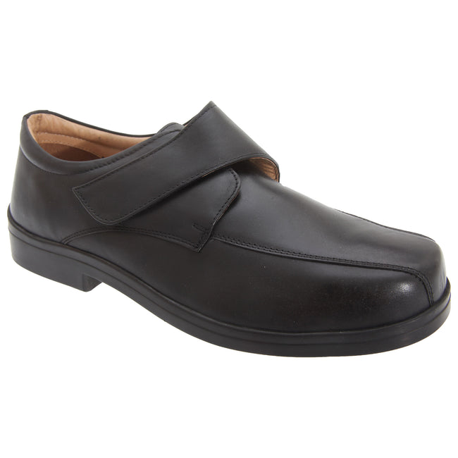 Black - Front - Roamers Mens XXX Extra Wide Touch Fastening Tramline Casual Shoes