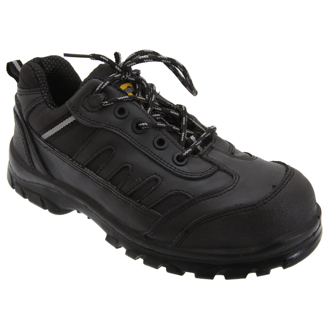 Black - Front - Grafters Mens Fully Composite Non-Metal Safety Trainer Shoes