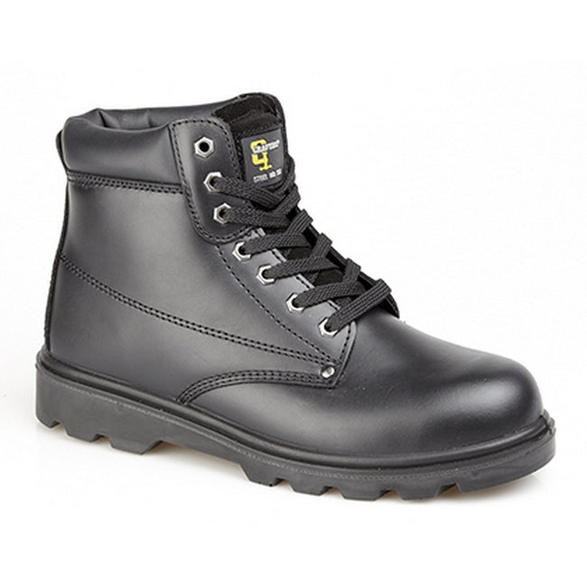 Black - Front - Grafters Mens Padded Leather Safety Boots