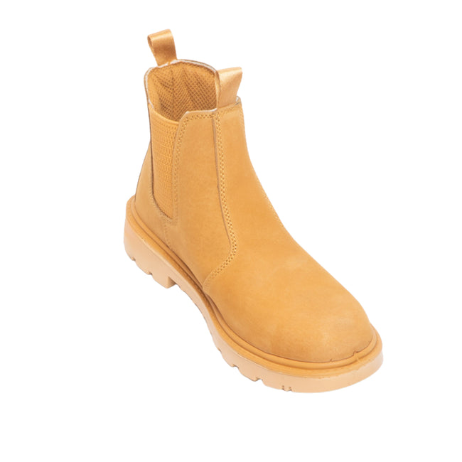 Honey Nubuck - Front - Grafters Mens Grinder Safety Twin Gusset Leather Dealer Boots
