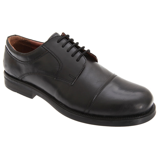Black - Front - Scimitar Mens Capped Gibson Leather Shoes