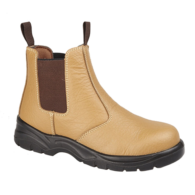 Tan - Front - Grafters Mens Grain Leather Chelsea Safety Boots