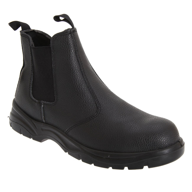 Black - Front - Grafters Mens Grain Leather Chelsea Safety Boots