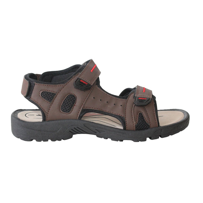 Brown - Front - PDQ Mens Triple Touch Fastening Sports Sandals