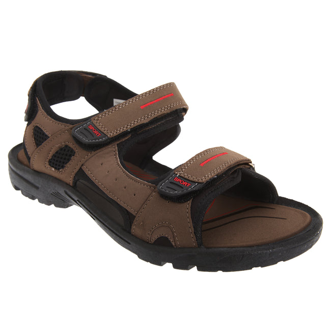 Black-Grey - Front - PDQ Mens Triple Touch Fastening Sports Sandals