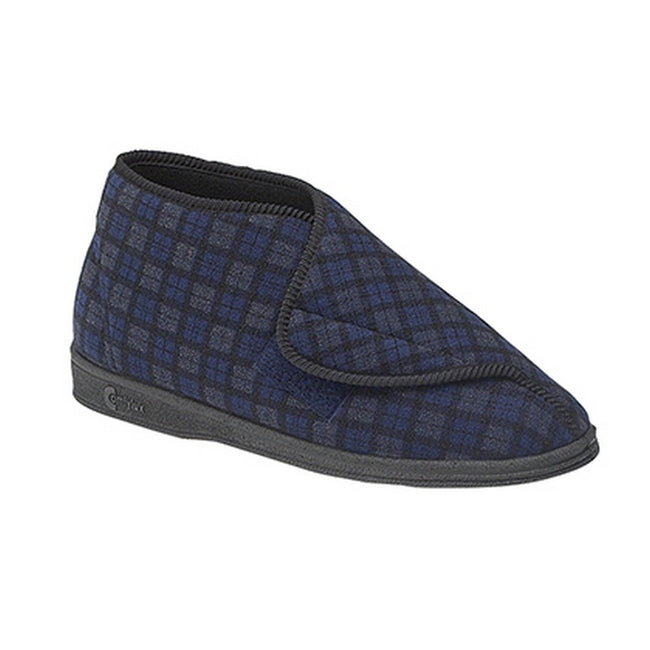 Navy Blue - Front - Comfylux Mens James Check Boot Slippers
