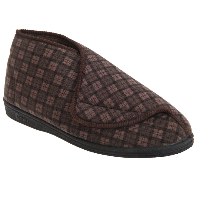 Brown - Front - Comfylux Mens James Check Boot Slippers