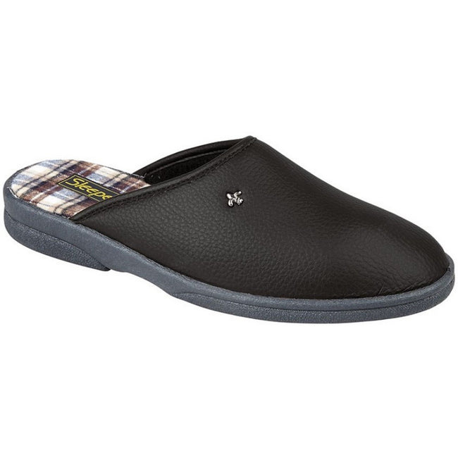 Black - Front - Sleepers Mens Dwight Outdoor Sole Mule Slippers