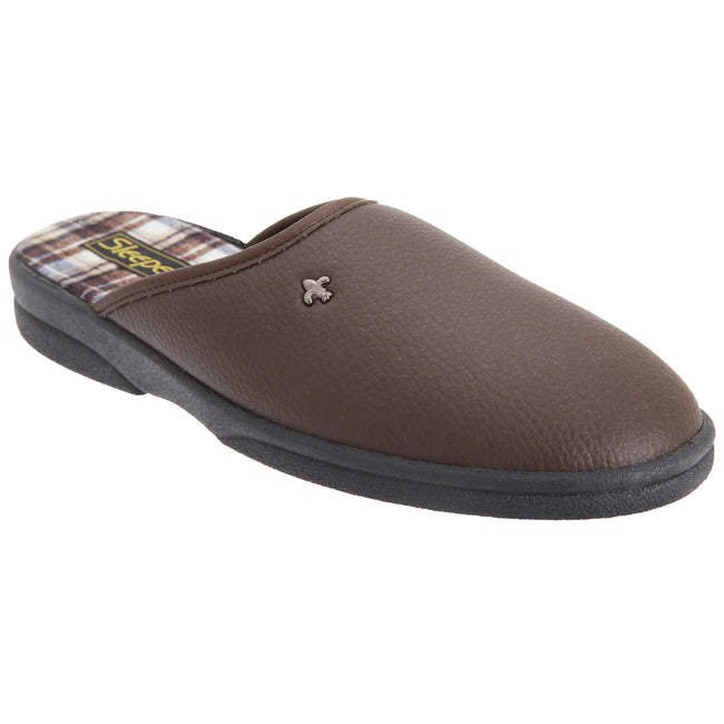 Brown - Front - Sleepers Mens Dwight Outdoor Sole Mule Slippers