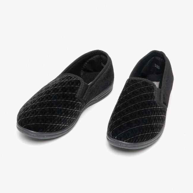 Black - Front - Zedzzz Mens Kevin Velour Twin Gusset Slippers