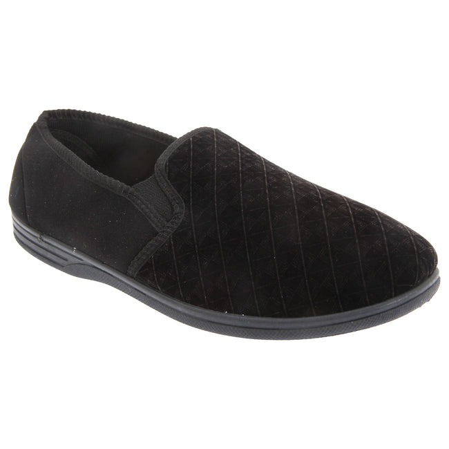 Brown - Front - Zedzzz Mens Kevin Velour Twin Gusset Slippers