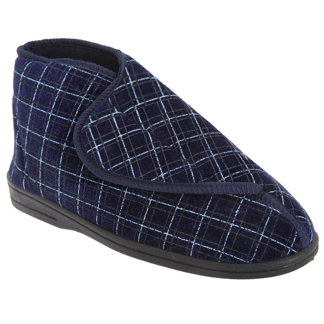 Navy Blue - Front - Zedzzz Mens Bertie Check Velour Touch Fastening Bootee Slippers