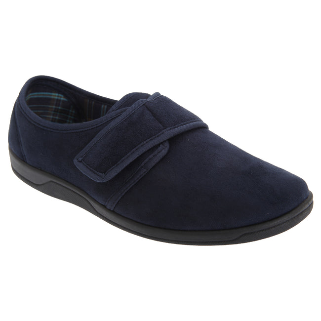 Navy Blue - Front - Sleepers Mens Tom Imitation Suede Touch Fastening Slippers