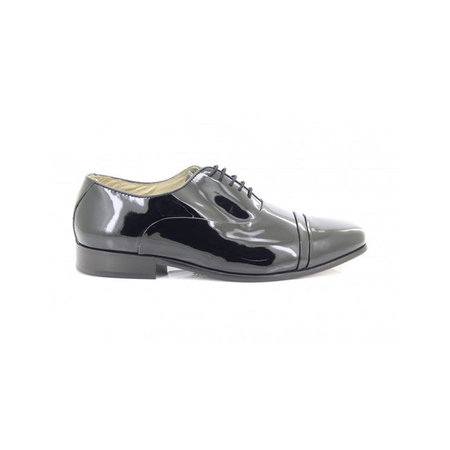 Black - Back - Montecatini Mens Folded Cap Oxford Tie Leather Shoes
