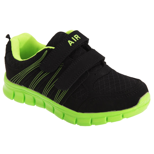 Black-Lime - Front - Dek Childrens-Kids Air Sprint Touch Fastening Lightweight Jogger Trainers