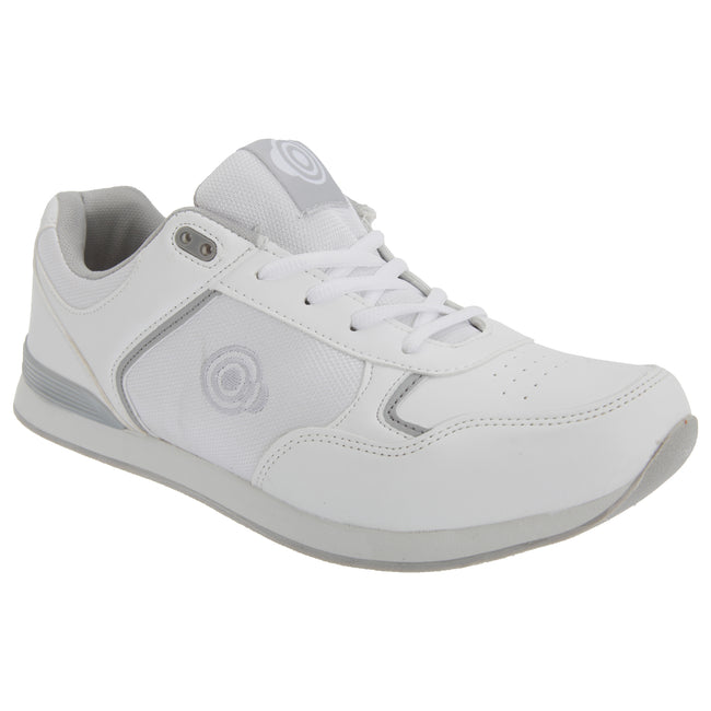White - Front - Dek Unisex Adults Jack Lace Up Trainer-Style Bowling Shoes