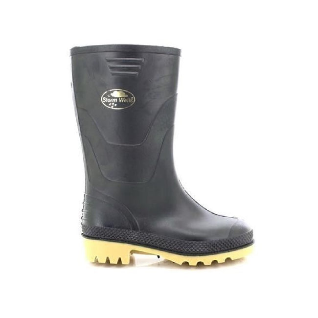 Black - Back - StormWells Childrens-Kids Junior Wellingtons