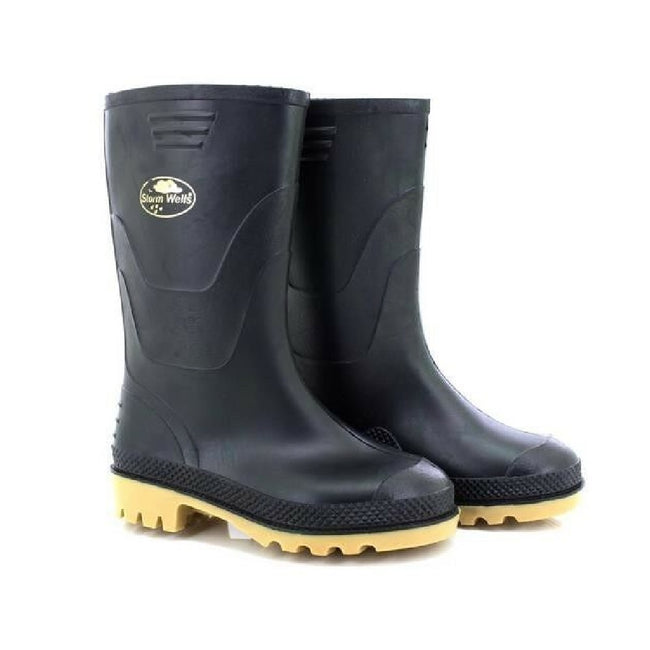 Black - Side - StormWells Childrens-Kids Junior Wellingtons