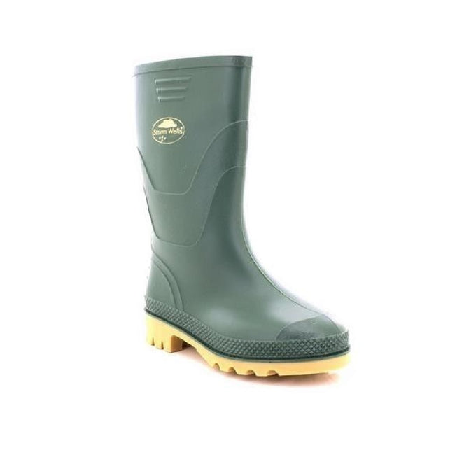 Green - Front - StormWells Childrens-Kids Junior Wellingtons