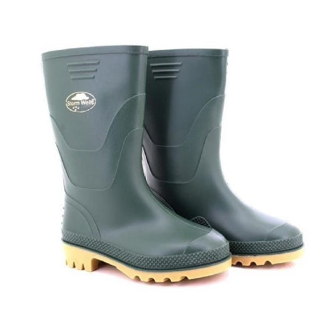 Green - Side - StormWells Childrens-Kids Junior Wellingtons