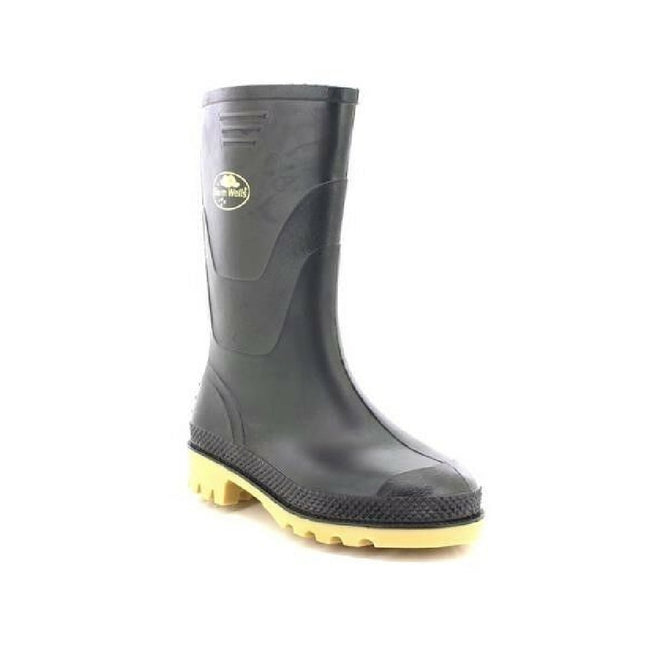 Black - Front - StormWells Childrens-Kids Junior Wellingtons