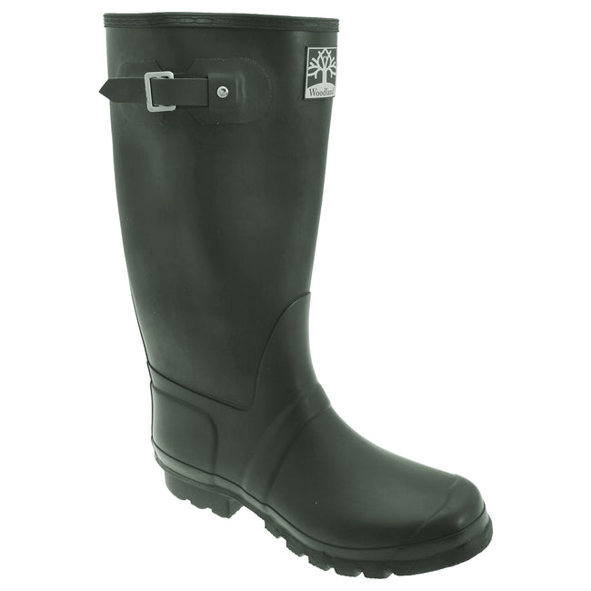 Green - Front - Woodland Unisex Quality Strap Wide Fit Wellington Boots