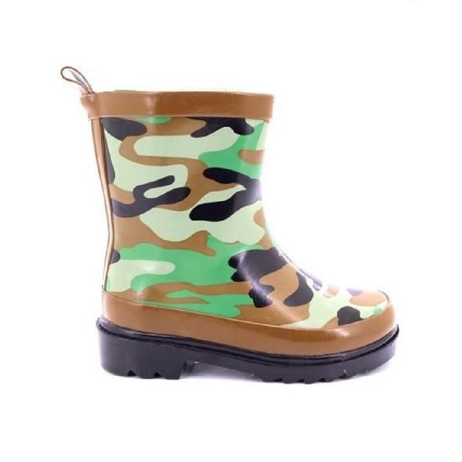 Green-Brown-Black - Back - StormWells Childrens-Kids Camouflage Print Wellingtons