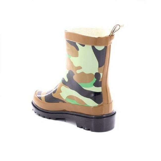 Green-Brown-Black - Side - StormWells Childrens-Kids Camouflage Print Wellingtons