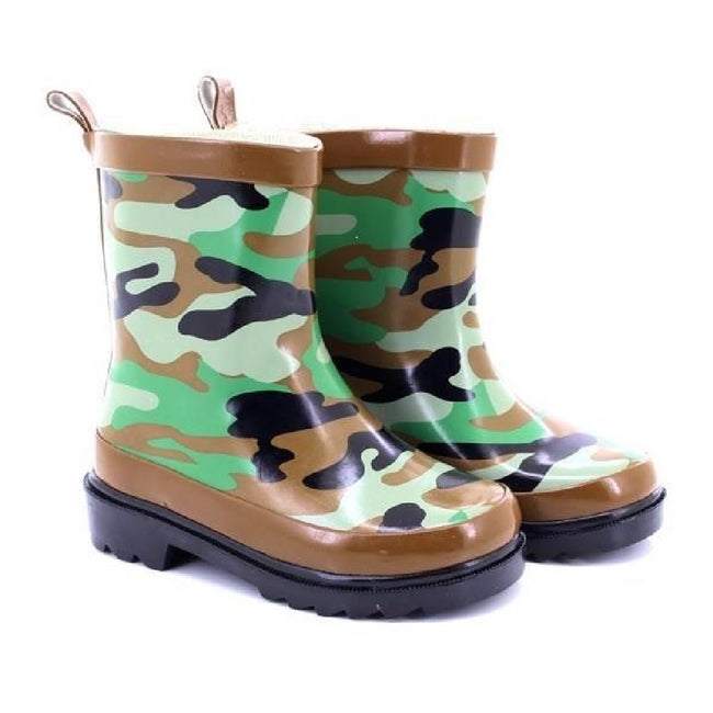Green-Brown-Black - Lifestyle - StormWells Childrens-Kids Camouflage Print Wellingtons